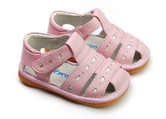 "Pre Order Freycoo ""Lucy"" Girls Pink Leather Sandals"