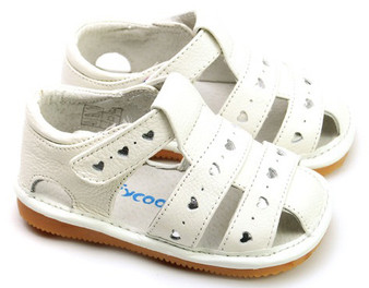 """Pre Order Freycoo """"Lucy"""" White Leather Girls Sandals"""