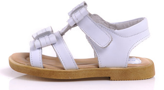 "Caroch ""Mika"" White Leather Sandals"