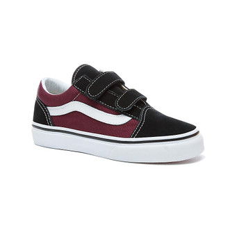 Vans Old Skool V Black & Burgundy Kids Shoes