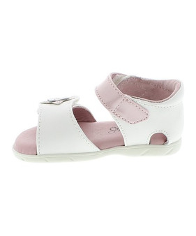 Footmates Fluer White & Pink Leather Sandal