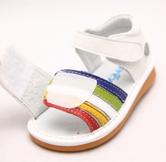 "Freycoo ""Star"" White Leather Girls Sandals"