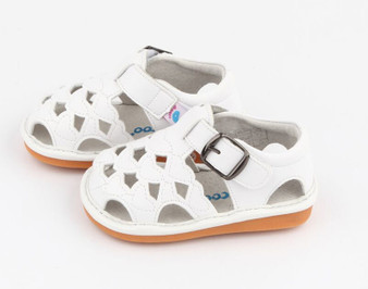 "Pre Order Freycoo ""Cass"" Girls White Leather Sandals"