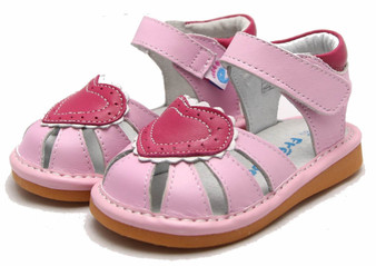 "Freycoo ""Love"" Pink Leather Sandals"