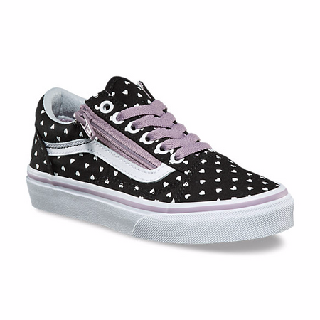 Vans Old Skool Zip Micro Heart Black Girls Shoes US12 only
