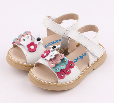 """Freycoo """"Peacock"""" White Leather Sandals"""