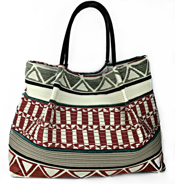 Aztec Red Striped, modern and stunning, this designer tote is perfect for everyday use. For a Lola tote bag, look no further! Unique