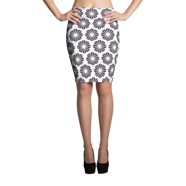 Pencil Skirt BLACK & WHITE FLOWERS