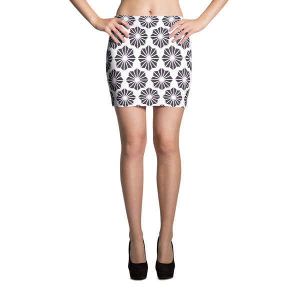 Mini Skirt BLACK & WHITE FLOWERS