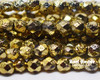 6mm Gold Ore Etched Round Fire Polished (300 Pieces)