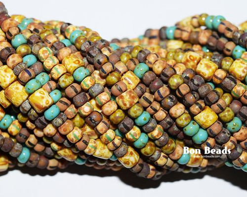6/0 Aged Green Turquoise With Tubes Matted Picasso Striped Mix (1/4 Kilo)