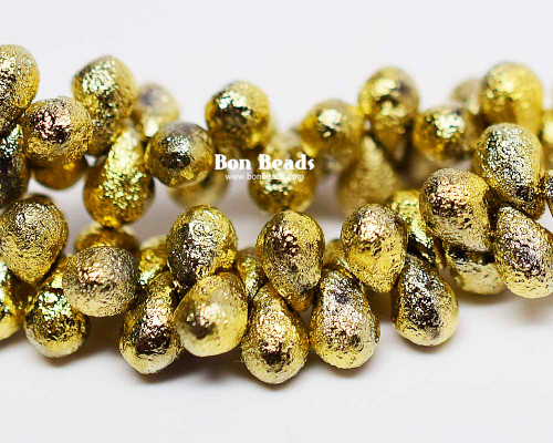 4x6mm Gold Ore Etched Drops (300 Pieces)