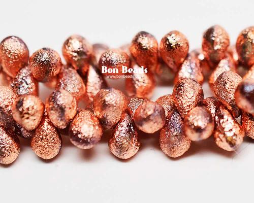 4x6mm Copper Ore Etched Drops (300 Pieces)