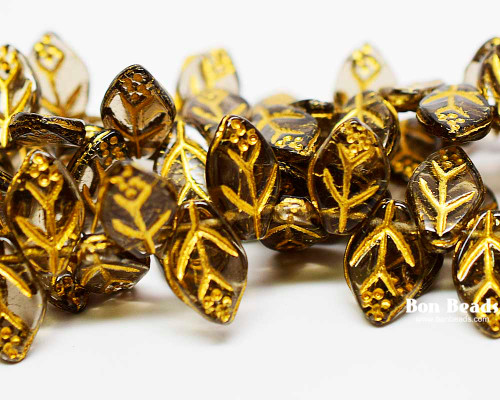 12x7mm Smoke Grey Gold Lined Leaves (300 Pieces)