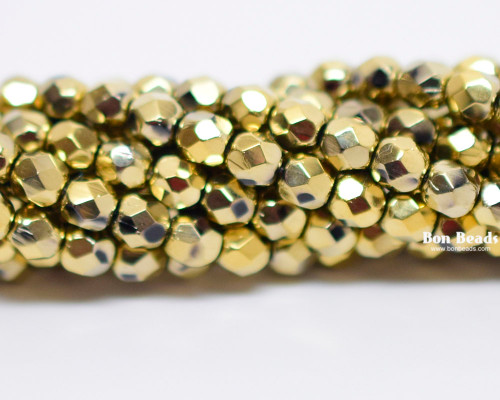 4mm Gold Ore Round Fire Polished (600 Pieces)