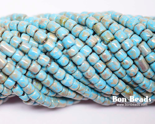 6/0 Aged Blue Turquoise Heavy Picasso Bugles (1/4 Kilo)