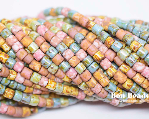 6/0 Aged Pink Medley Picasso Bugle Mix (1/4 Kilo)
