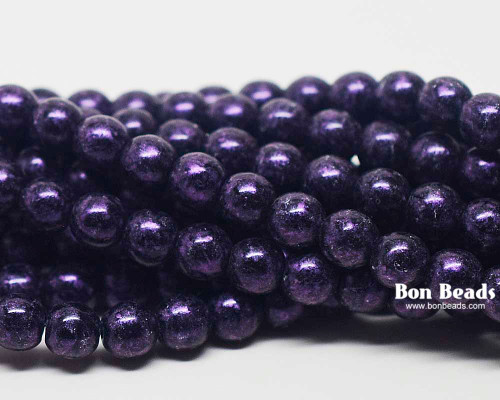 6mm Van Gogh Eggplant Round Smooth Druks (300 Pieces)