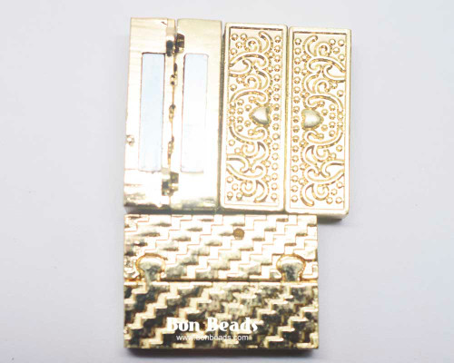 22x33x8mm Heart Etched Gold Magnetic Bar Clasp (Each)