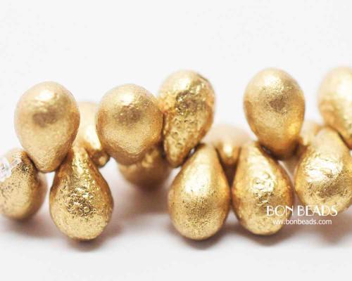 6x9mm Etched Aztec Gold Drops (150 Pieces)