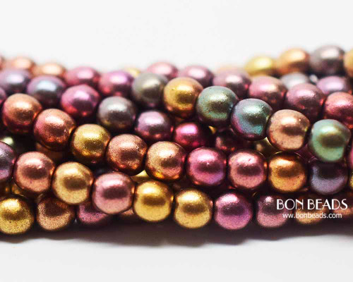 4mm Metallic Iris Mix Smooth Round Druk (600 Pieces)