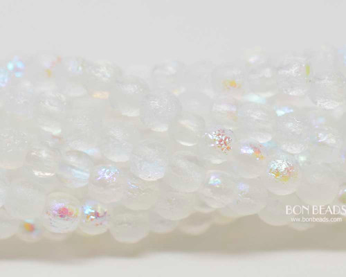 4mm Etched Crystal AB Smooth Round Druk (600 Pieces)