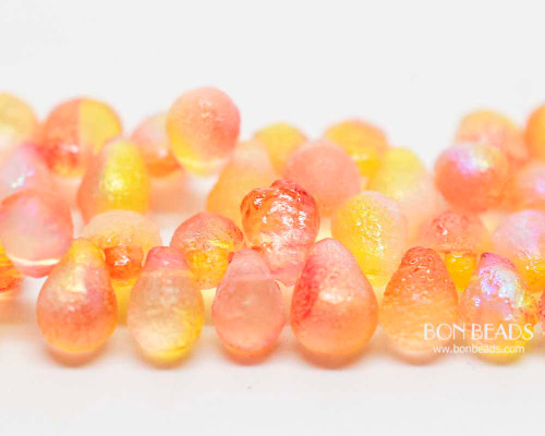 4x6mm Matted Hyacinth Celestial Etched Drops (300 Pieces)