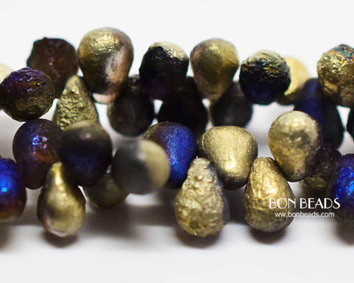 4x6mm Matted California Blue Celestial Etched Drops (300 Pieces)
