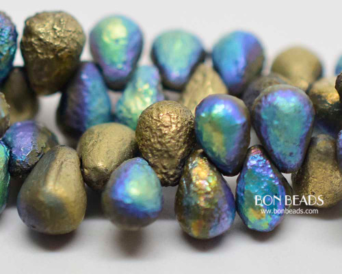 4x6mm Matted Gold Ore AB Etched Drops (300 Pieces)