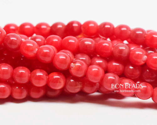 6mm Coral Agate Round Smooth Druks (300 Pieces)