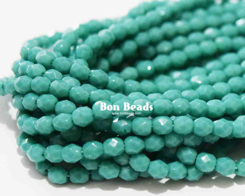 4mm Dark Green Turquoise Round Fire Polished (600 Pieces)