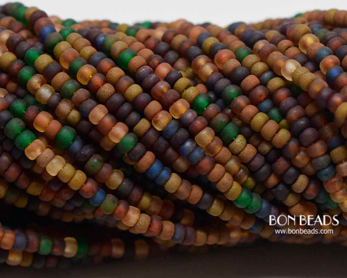 8/0 Aged Rustic Rainbow Picasso Mix  (1/4 Kilo)