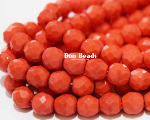 8mm Coral Round Fire Polished (300 Pieces)