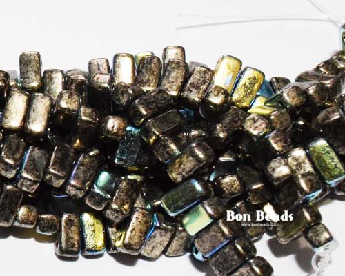 3x6mm Antique Chrome AB 2 Hole Bricks (600 Pieces)