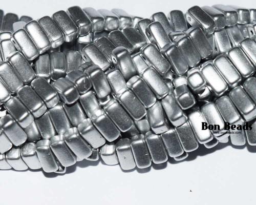 3x6mm Silky Silver 2 Hole Bricks (600 Pieces)