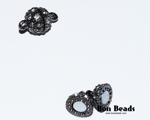 16x10mm Black Rhinestone Magnetic Clasp (Each)