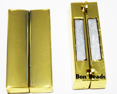 37x19x7mm Classic Gold Magnetic Bar Clasp (Each)