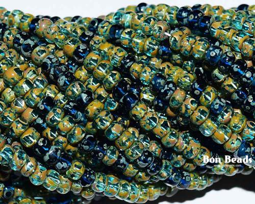 6/0 3 Cut Aqua Heavy Picasso Mix (1/4 Kilo)