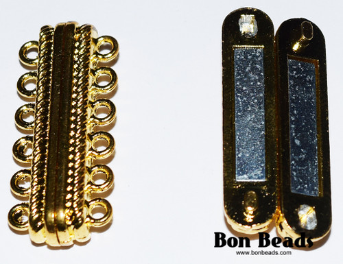 33x14x7mm 12 Holes Gold Magnetic Bar Clasp (Each)