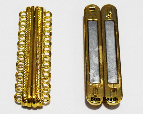48x15x7mm 18 Holes Gold Magnetic Bar Clasp (Each)