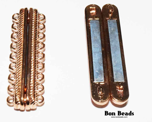 48x15x7mm 18 Holes Copper Magnetic Bar Clasp (Each)