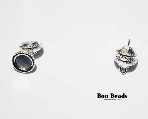 19x12mm Silver Saucer Magnetic Clasp (Each)