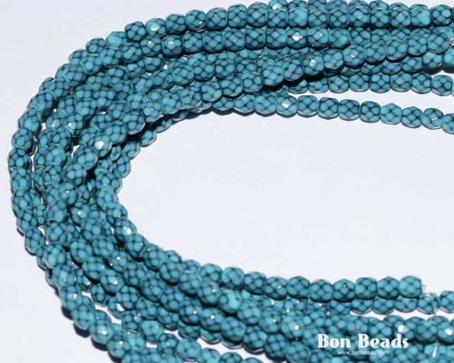 4mm Turquoise Round Snake Fire Polished (600 Pieces)