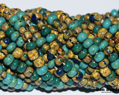 4/0 Aged Green Turquoise Jade Striped Picasso Mix (1/4 Kilo)
