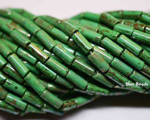 9x4mm Aged Wampum Jade Metallic Picasso Bugle (1/4 Kilo)