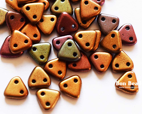 6mm 2 Hole Triangles Metallic Iris Mix (50 Grams)