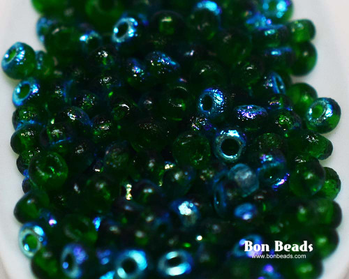 8/0 Emerald AB Etched Round (50 Grams)