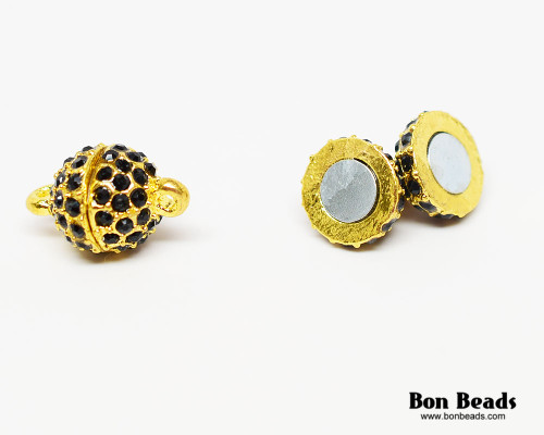 16x10mm Gold Rhinestone Magnetic Oval Clasp (Each)