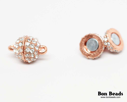 16x10mm Copper Rhinestone Magnetic Oval Clasp (Each)