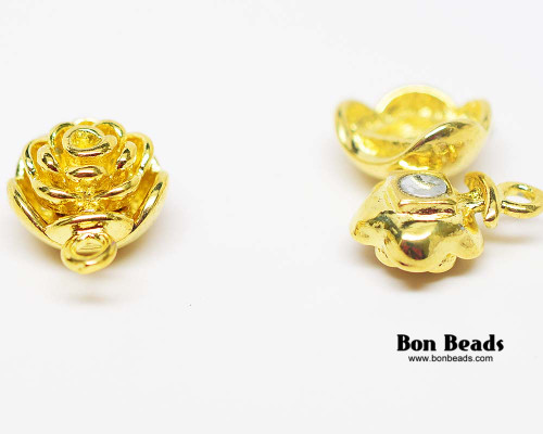 20x13x9mm Gold Flower Magnetic Clasp (Each)